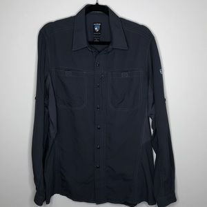 KUHL men's charcoal grey buttoned trail shirt M